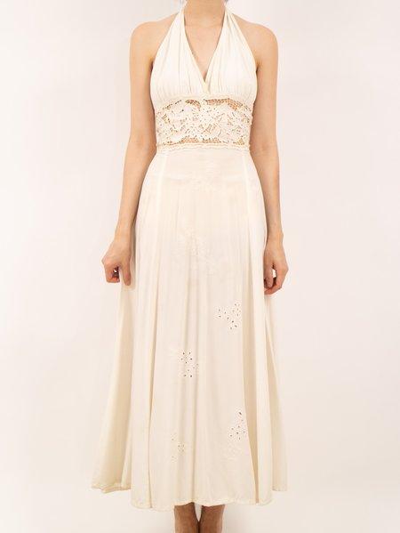 Vintage Erin Templeton creamy halter dress - White
