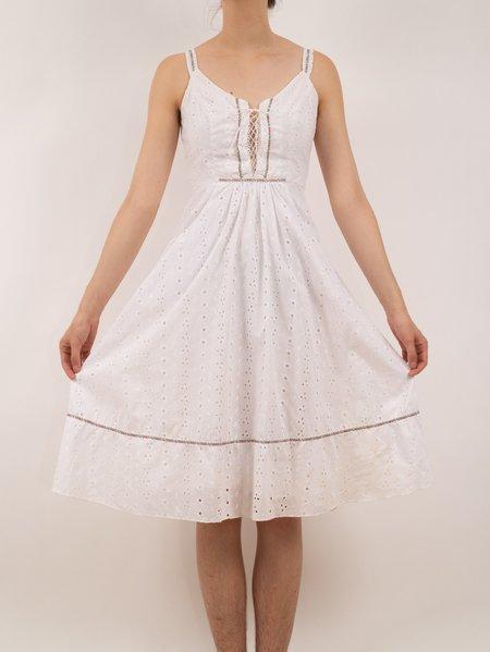 Vintage Erin Templeton XS eyelet apron dress - White