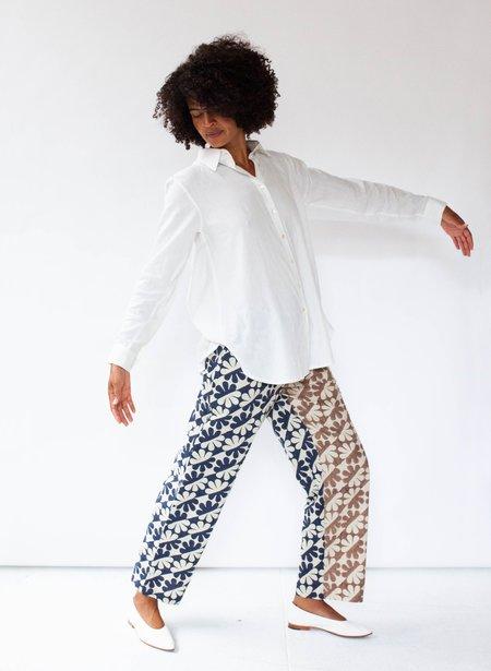 Seek Collective Drawstring Pants - navy/cocoa dahlia print