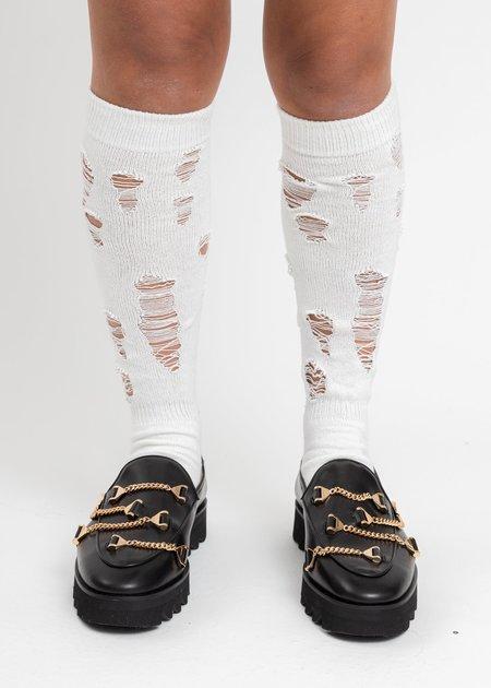 Doublet Damaged High Socks - White