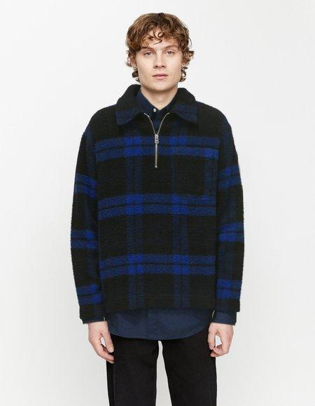 Schnayderman's Half zip boiled wool Sweaters - check blue/black