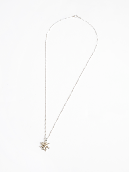 Wolf Circus Flower Charm Necklace - Silver