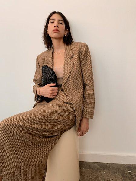 Vintage Houndstooth Blazer and Skirt Set - olive/rust