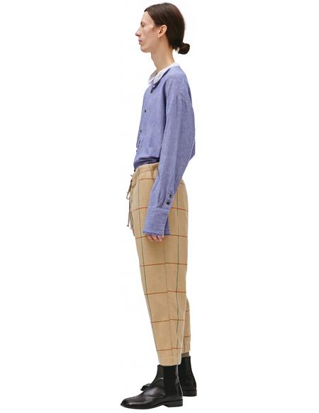 Greg Lauren Checked drawstring trousers - Beige