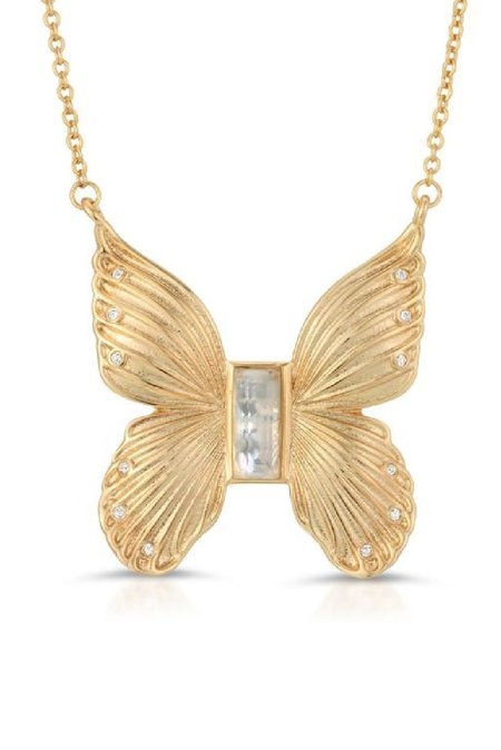 Elizabeth Stone Butterfly with Mother of Pearl Necklace