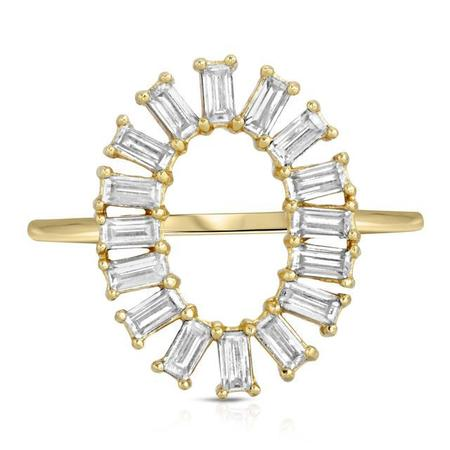 Elizabeth Stone Oval Baguette Cocktail Ring