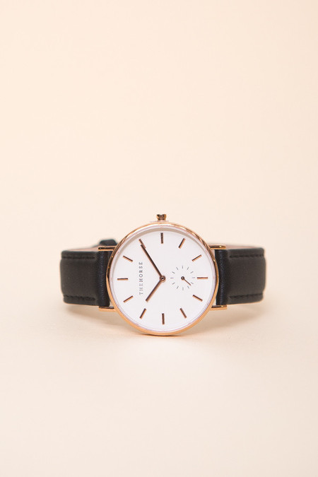The Horse Classic Leather Watch / Rose Gold, Black Leather