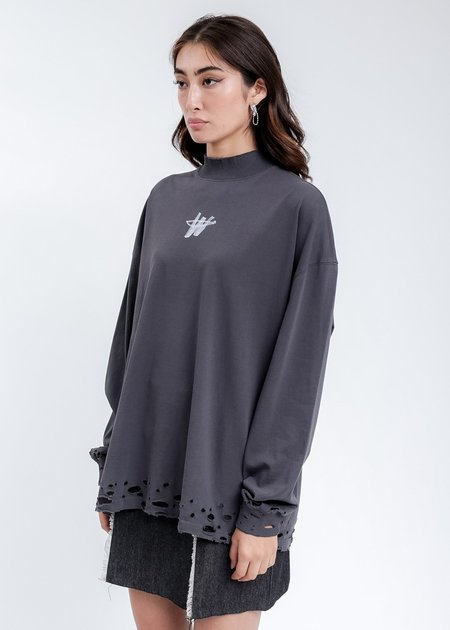 we11done High Neck WD Logo Sweater - Charcoal