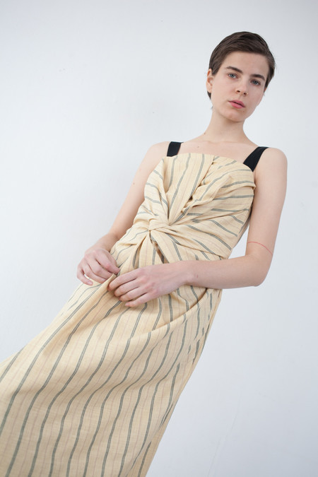 Caron Callahan Donna Dress in Yellow Pinstripe