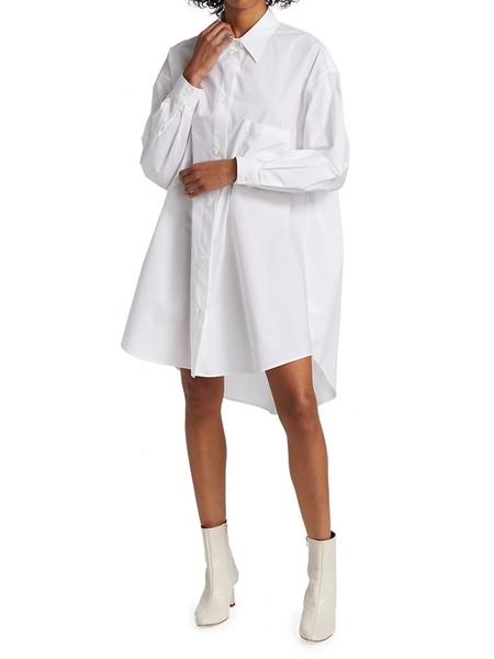Logo 6 Shirt Dress in White by MM6 Maison Margiela