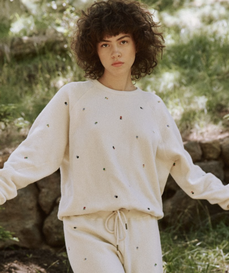 The Great. The Sherpa College Ditsy Sweatshirt - Washed White