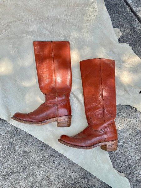 vintage Frye 70s campus ridding boots - red