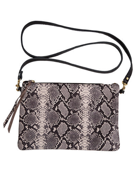 Oliveve queenie cross body in black and white cobra cow leather