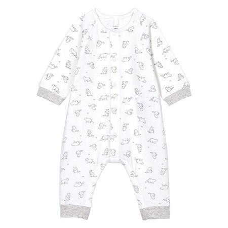 Kids Petit Bateau Baby Talbot Pyjamas Marshmallow - White An All Over Beaver Print