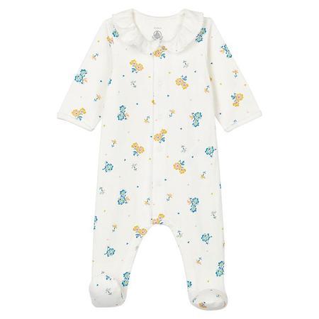 Kids Petit Bateau Baby Talna Pyjamas With Feet Marshmallow - White Floral Print
