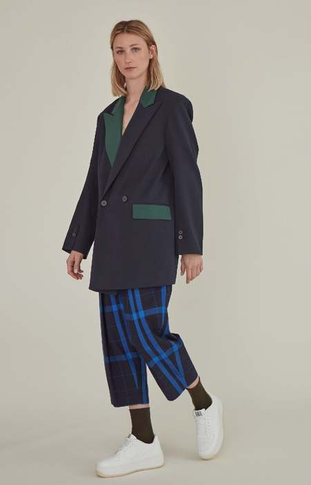 MATTER MATTERS EMBROIDERED TWO-TONE OVERSIZED SUIT -  Blue Green