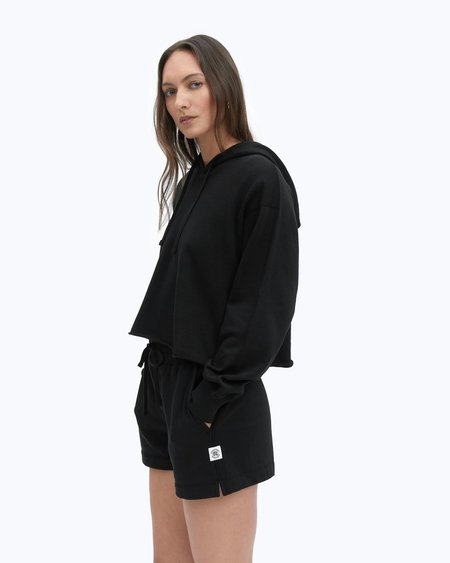 Reigning Champ Lightweight Terry Cut-Off Hoodie SWEATER - BLACK