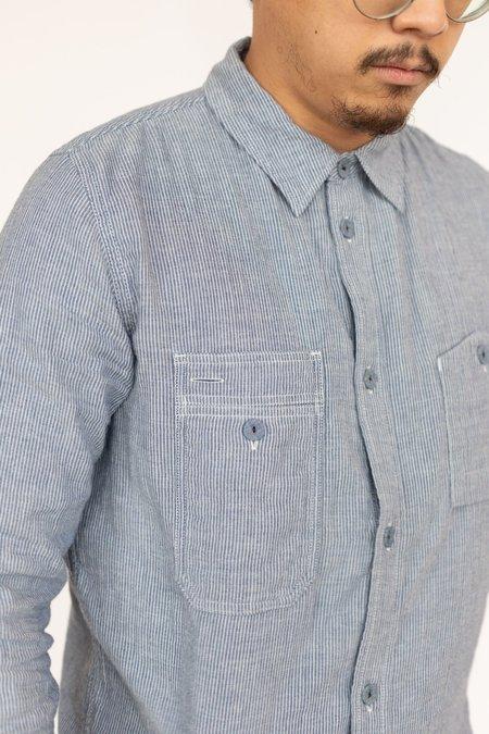Pure Blue Japan Vertical Stripe Work Shirt - Indigo