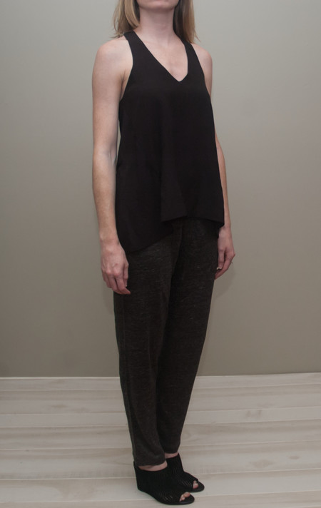 Heather silk front racerback tank