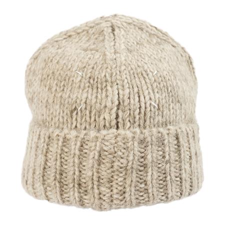 Unisex Maison Margiela Beige Cotton and Wool Beanie - Beige