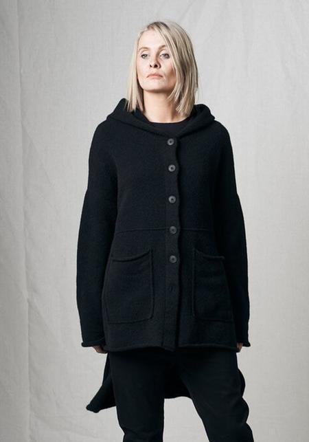 Pal Offner Asymmetric Hooded Button Down Cardigan - Black