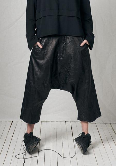 Unisex Pal Offner Leather Drop Seat Hang Loose Trousers - Black