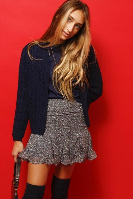 Dress Forum Ditsy Floral Ruffled Mini Skirt - Dusty Blue