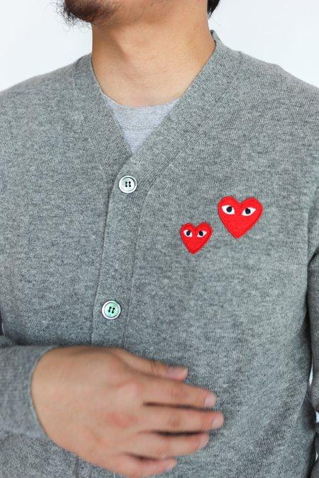 Comme des Garçons Double Heart Cardigan - Grey/Red