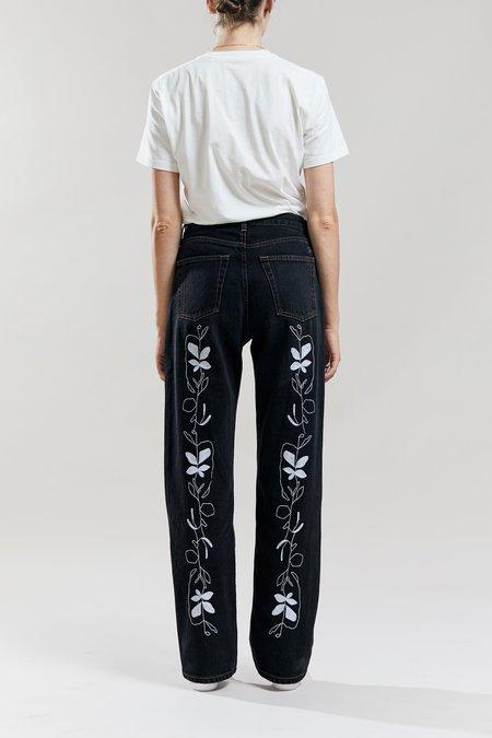 Still Here New York Flower Vine Childhood Jeans - Washed Black