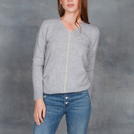 Duffy V-Neck Sweater with Yellow Stripe
