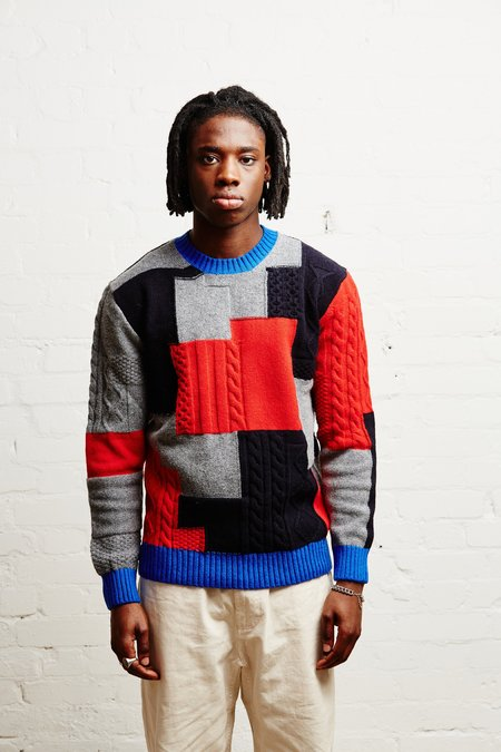 Country of Origin Patchwork Cable Crew