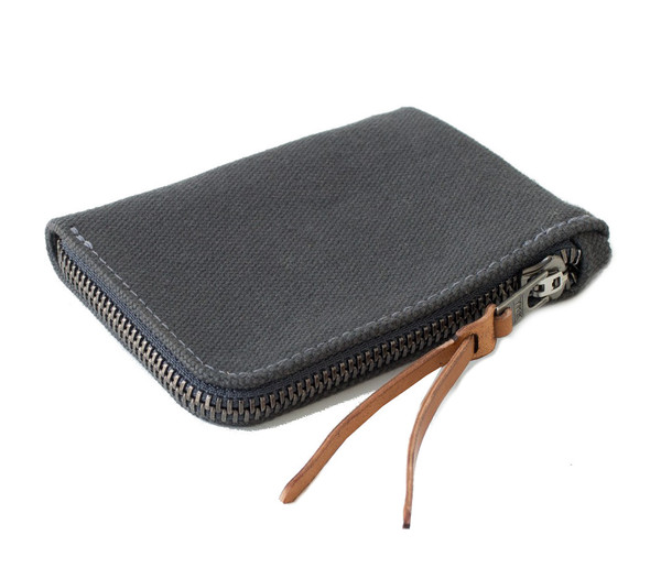 MAKR Canvas Zip Slim Wallet in Charcoal