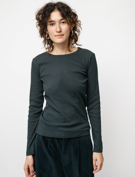 Sunspel LS Rib T-shirt - Forest