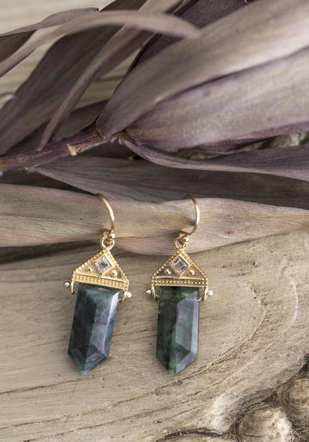 Lulu Designs Gold Vermeil and Emerald Neptune Earrings - Gold