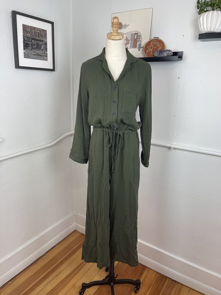 [pre-loved] Velvet by Graham & Spencer Cotton Gauze Jumpsuit - olive