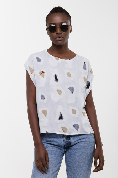 Oversized Maena Top - Grey Platelets