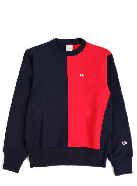 Champion Reverse Weave Split Crewneck Sweatshirt Navy/Red