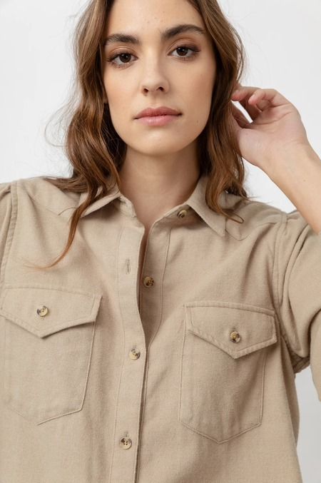 Rails Ada Long Sleeve Button Down Shirt - Heather Toffee