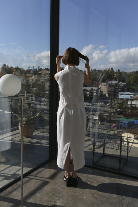 Suzanne Rae Sleeveless Mock Neck Dress in White