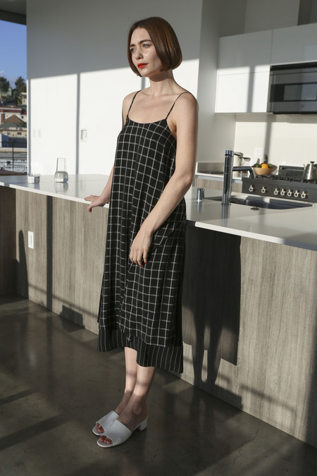 SVILU Slip Dress in Black Windowpane Check