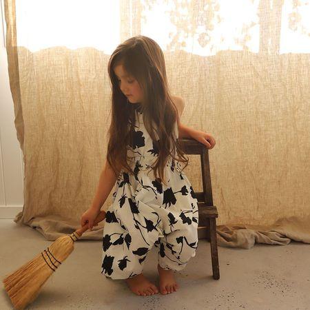 Kids Feather Drum Harem Jumpsuit - Nocturnal Bloom