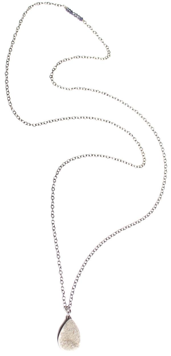 Sarah Dunn Druzy Oxidized Chain Necklace