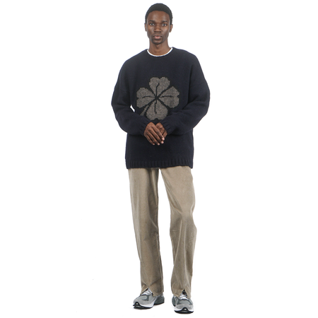 Our Legacy POPOVER ROUNDNECK LUCKY CLOVER SWEATER - BLACK