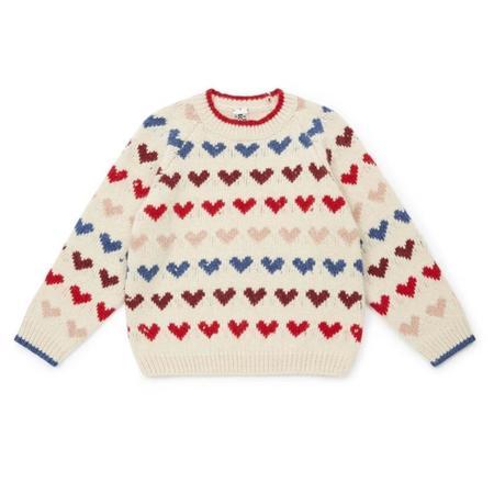 kids bonton jacquard knit cardigan - hearts