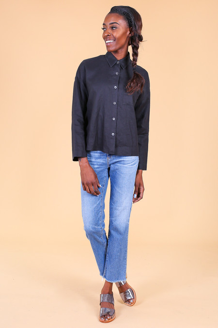 Svilu Button Down Shirt in Black