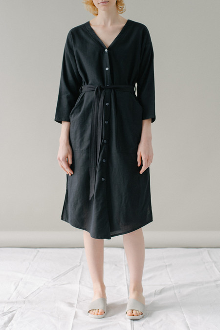 REIFhaus Big Shirt Dress in Black Linen