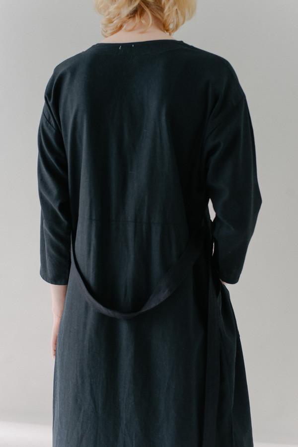 REIFhaus Big Shirt Dress in Black Linen