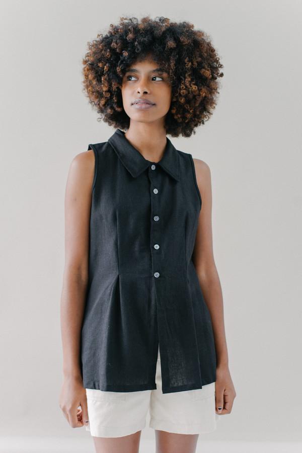 REIFhaus Gather Blouse in Black Linen