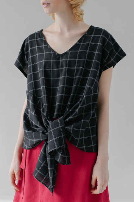 REIFhaus Lia Wrap Blouse in Grid Print