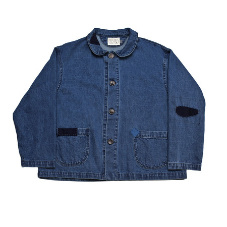 Olderbrother Patched Denim Chore Coat - Indigo